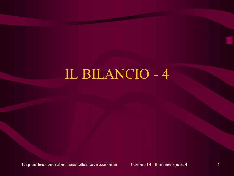 La pianificazione di business nella nuova economiaLezione 14 - Il bilancio parte 41 IL BILANCIO - 4