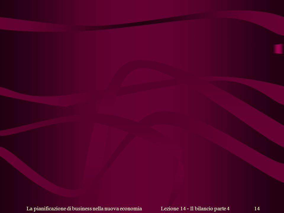 La pianificazione di business nella nuova economiaLezione 14 - Il bilancio parte 4 14