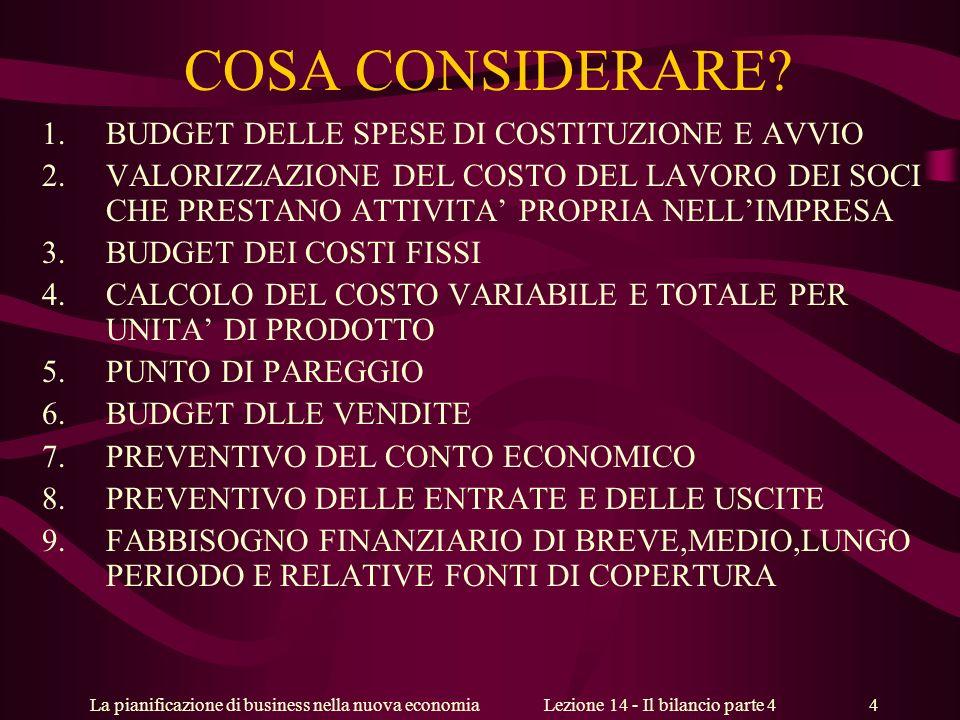 La pianificazione di business nella nuova economiaLezione 14 - Il bilancio parte 4 4 COSA CONSIDERARE.