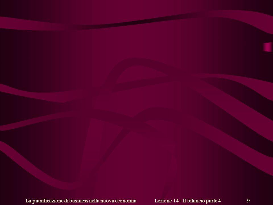 La pianificazione di business nella nuova economiaLezione 14 - Il bilancio parte 4 9