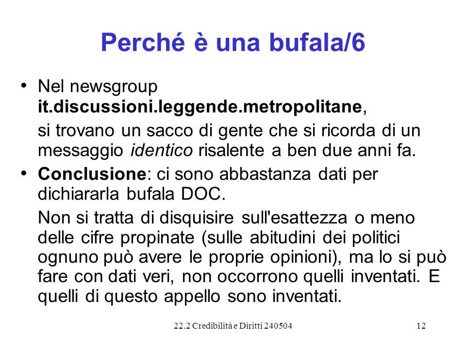 22.2 Credibilità e Diritti 24050412 Perché è una bufala/6 Nel newsgroup it.discussioni.leggende.metropolitane, si trovano un sacco di gente che si ric