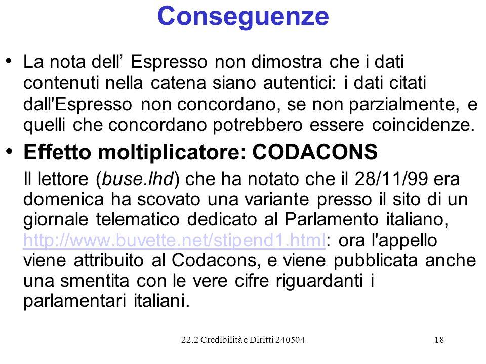 22.2 Credibilità e Diritti 24050418 Conseguenze La nota dell Espresso non dimostra che i dati contenuti nella catena siano autentici: i dati citati da