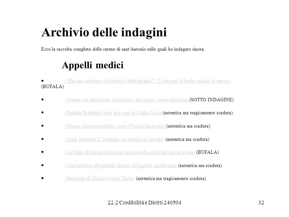 22.2 Credibilità e Diritti 24050432 Archivio delle indagini Ecco la raccolta completa delle catene di sant'Antonio sulle quali ho indagato sinora. App