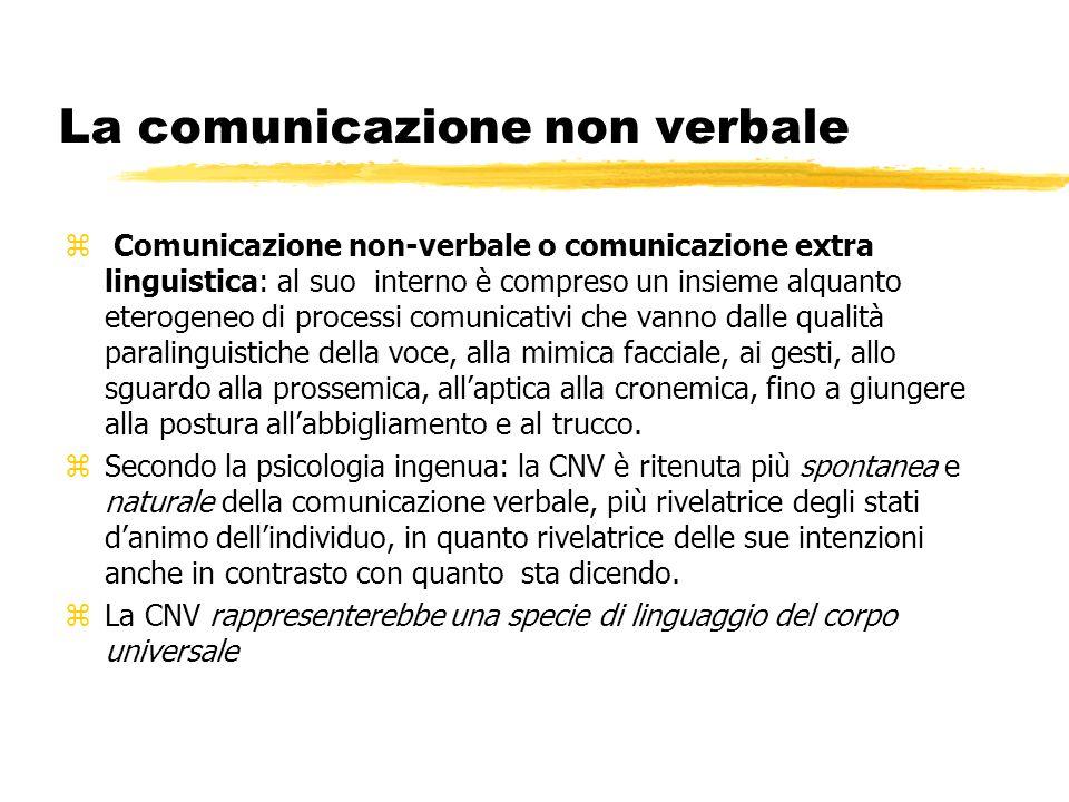 z Comunicazione non-verbale o comunicazione extra linguistica: al suo interno è compreso un insieme alquanto eterogeneo di processi comunicativi che v