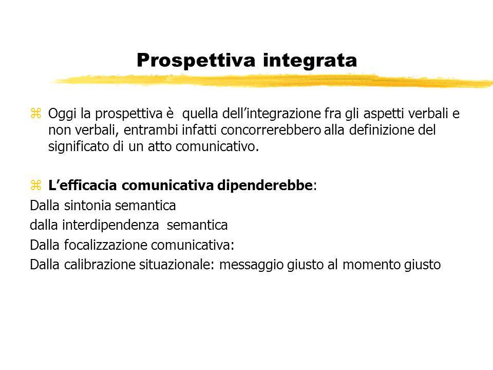 Prospettiva integrata zOggi la prospettiva è quella dellintegrazione fra gli aspetti verbali e non verbali, entrambi infatti concorrerebbero alla definizione del significato di un atto comunicativo.