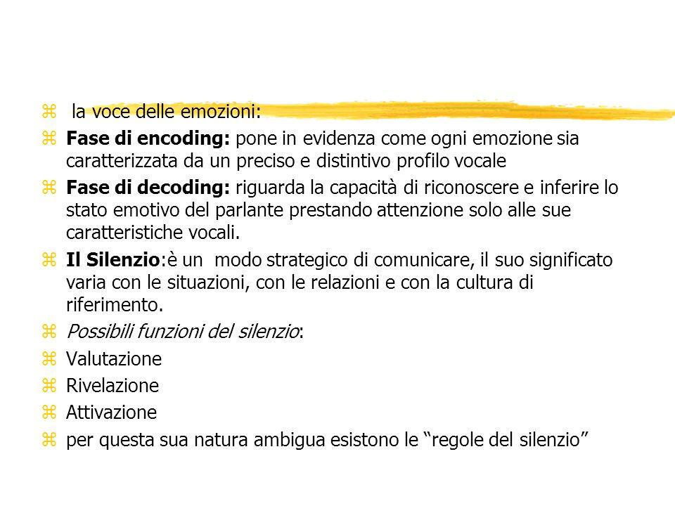 z la voce delle emozioni: zFase di encoding: pone in evidenza come ogni emozione sia caratterizzata da un preciso e distintivo profilo vocale zFase di decoding: riguarda la capacità di riconoscere e inferire lo stato emotivo del parlante prestando attenzione solo alle sue caratteristiche vocali.