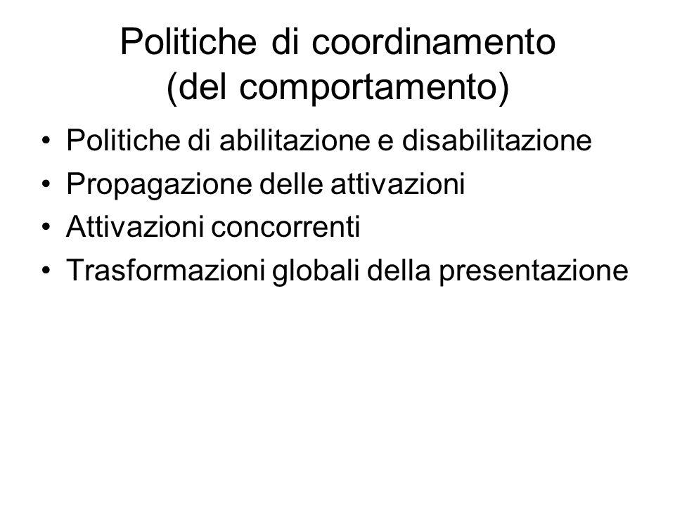 Politiche di coordinamento (del comportamento) Politiche di abilitazione e disabilitazione Propagazione delle attivazioni Attivazioni concorrenti Tras