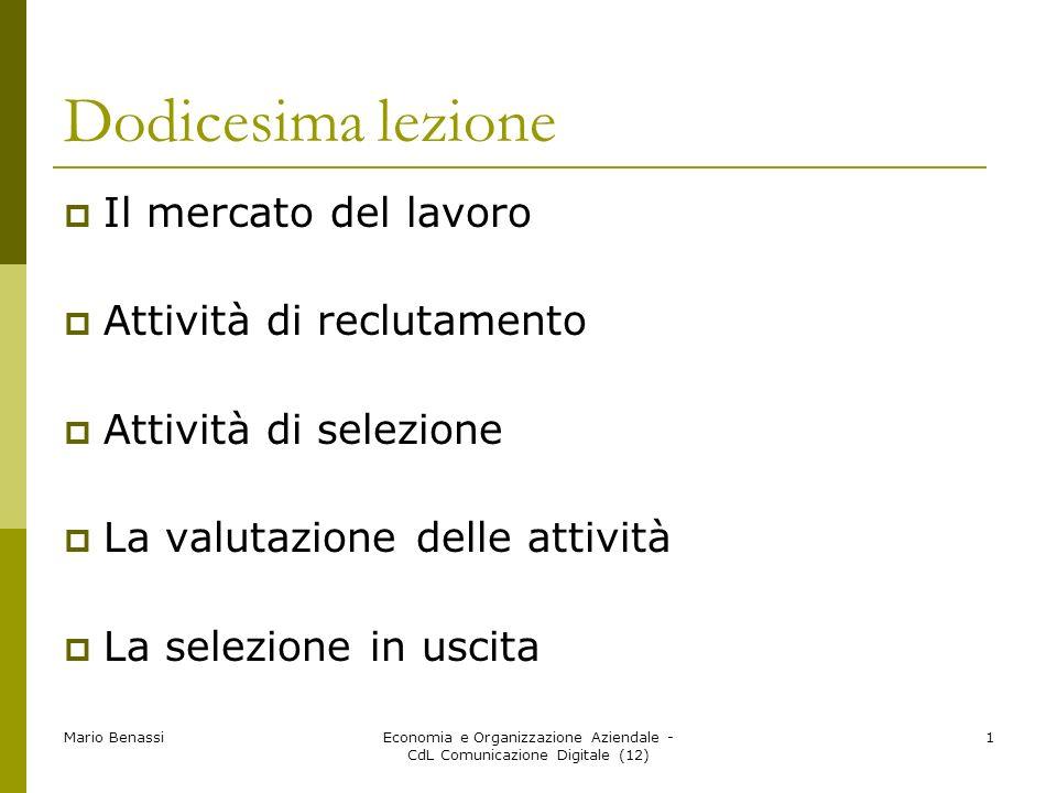 Mario BenassiEconomia e Organizzazione Aziendale - CdL Comunicazione Digitale (12) 1 Dodicesima lezione Il mercato del lavoro Attività di reclutamento
