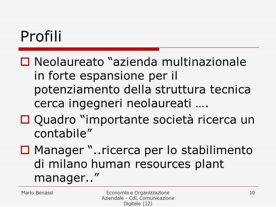 Mario BenassiEconomia e Organizzazione Aziendale - CdL Comunicazione Digitale (12) 10 Profili Neolaureato azienda multinazionale in forte espansione p