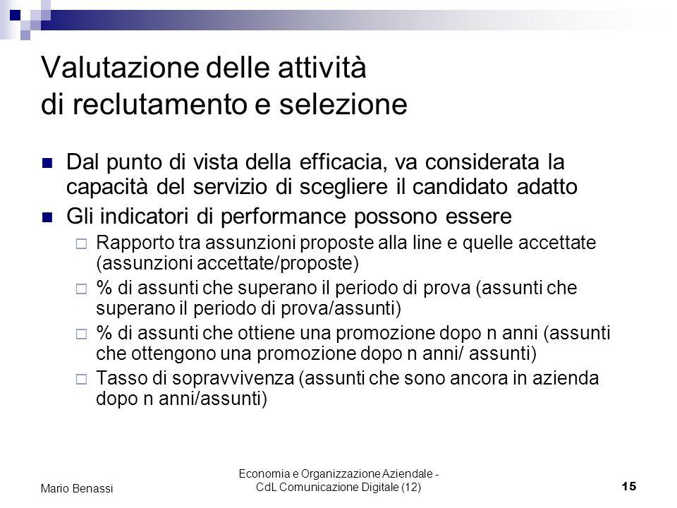 Economia e Organizzazione Aziendale - CdL Comunicazione Digitale (12)15 Mario Benassi Valutazione delle attività di reclutamento e selezione Dal punto