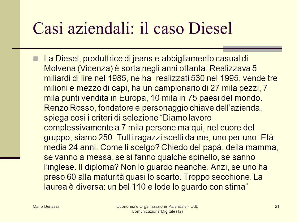 Mario Benassi Economia e Organizzazione Aziendale - CdL Comunicazione Digitale (12) 21 Casi aziendali: il caso Diesel La Diesel, produttrice di jeans