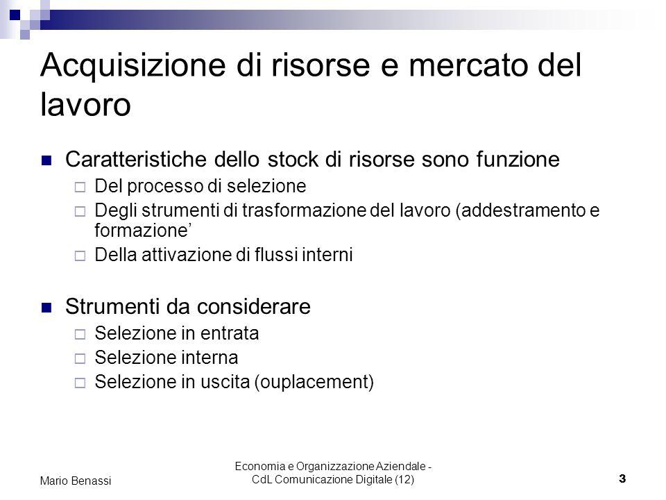 Economia e Organizzazione Aziendale - CdL Comunicazione Digitale (12)3 Mario Benassi Acquisizione di risorse e mercato del lavoro Caratteristiche dell