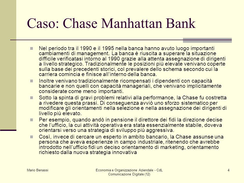 Mario Benassi Economia e Organizzazione Aziendale - CdL Comunicazione Digitale (12) 4 Caso: Chase Manhattan Bank Nel periodo tra il 1990 e il 1995 nel