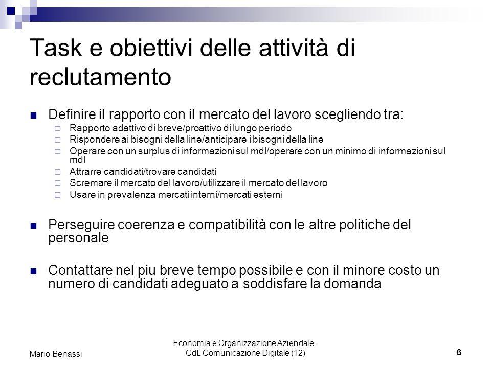 Economia e Organizzazione Aziendale - CdL Comunicazione Digitale (12)6 Mario Benassi Task e obiettivi delle attività di reclutamento Definire il rappo
