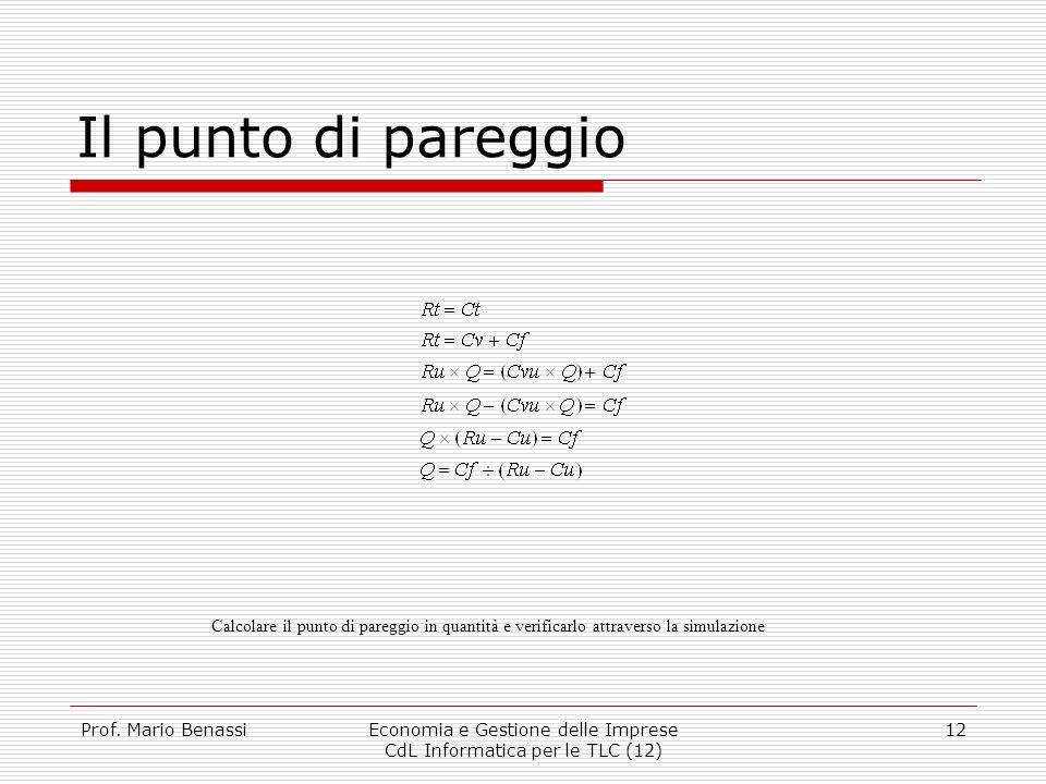 Prof. Mario BenassiEconomia e Gestione delle Imprese CdL Informatica per le TLC (12) 12 Il punto di pareggio Calcolare il punto di pareggio in quantit