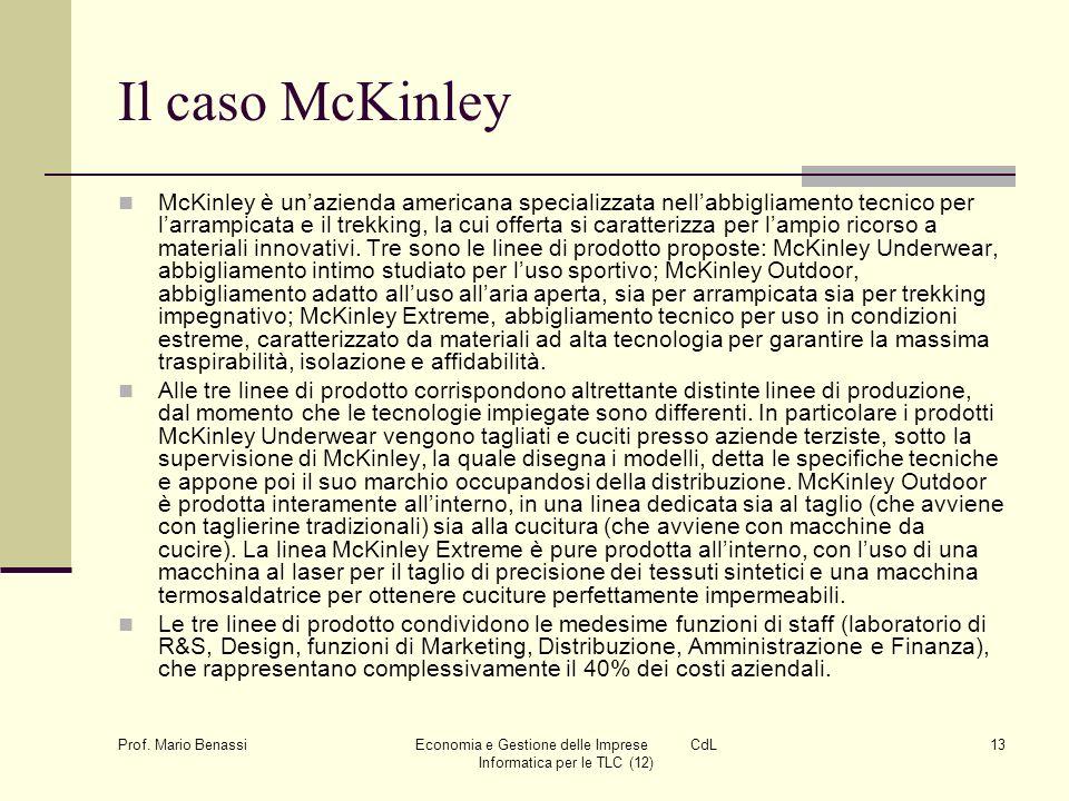 Prof. Mario Benassi Economia e Gestione delle Imprese CdL Informatica per le TLC (12) 13 Il caso McKinley McKinley è unazienda americana specializzata