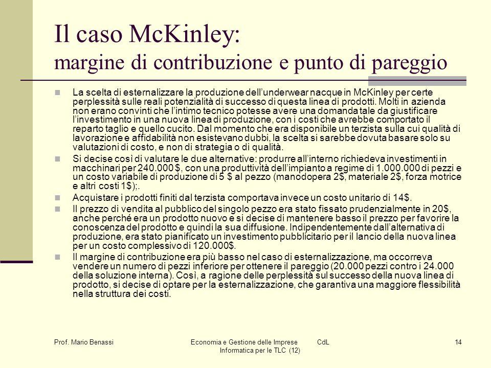 Prof. Mario Benassi Economia e Gestione delle Imprese CdL Informatica per le TLC (12) 14 Il caso McKinley: margine di contribuzione e punto di pareggi