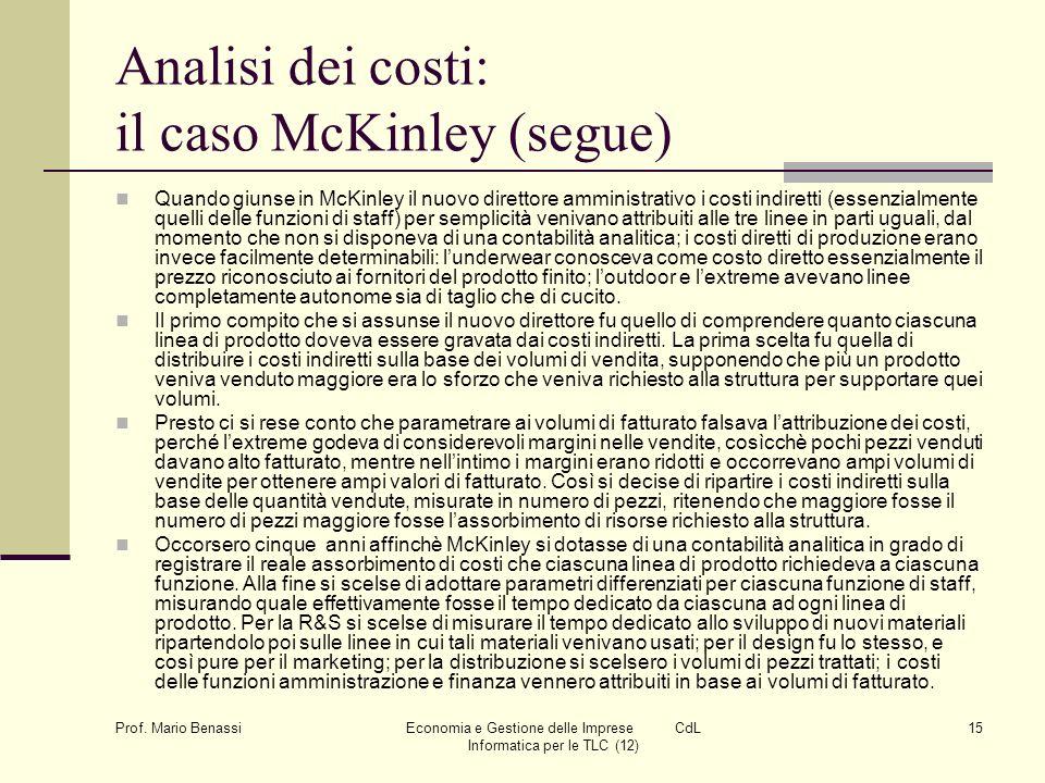 Prof. Mario Benassi Economia e Gestione delle Imprese CdL Informatica per le TLC (12) 15 Analisi dei costi: il caso McKinley (segue) Quando giunse in