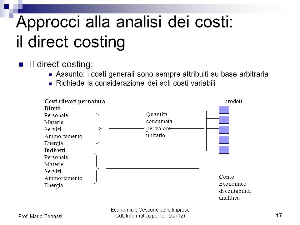 Economia e Gestione delle Imprese CdL Informatica per le TLC (12)17 Prof. Mario Benassi Approcci alla analisi dei costi: il direct costing Il direct c