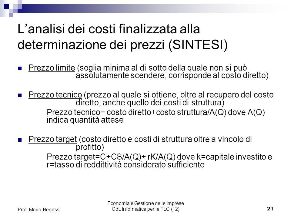 Economia e Gestione delle Imprese CdL Informatica per le TLC (12)21 Prof. Mario Benassi Lanalisi dei costi finalizzata alla determinazione dei prezzi