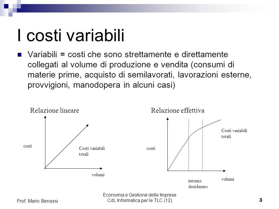 Economia e Gestione delle Imprese CdL Informatica per le TLC (12)3 Prof. Mario Benassi I costi variabili Variabili = costi che sono strettamente e dir