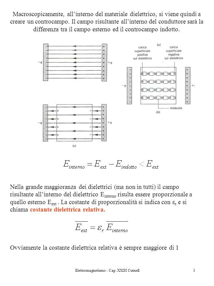 Elettromagnetismo - Cap. XXIII Cutnell3 Macroscopicamente, allinterno del materiale dielettrico, si viene quindi a creare un controcampo. Il campo ris