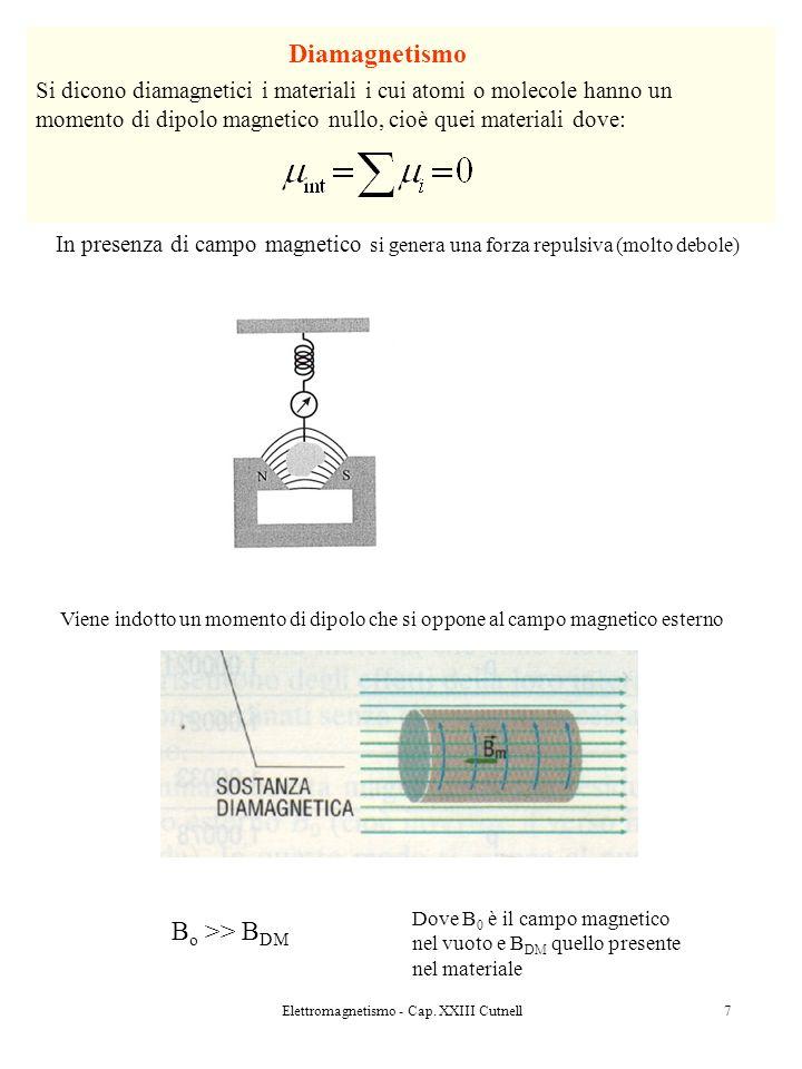 Elettromagnetismo - Cap. XXIII Cutnell7 Diamagnetismo Si dicono diamagnetici i materiali i cui atomi o molecole hanno un momento di dipolo magnetico n