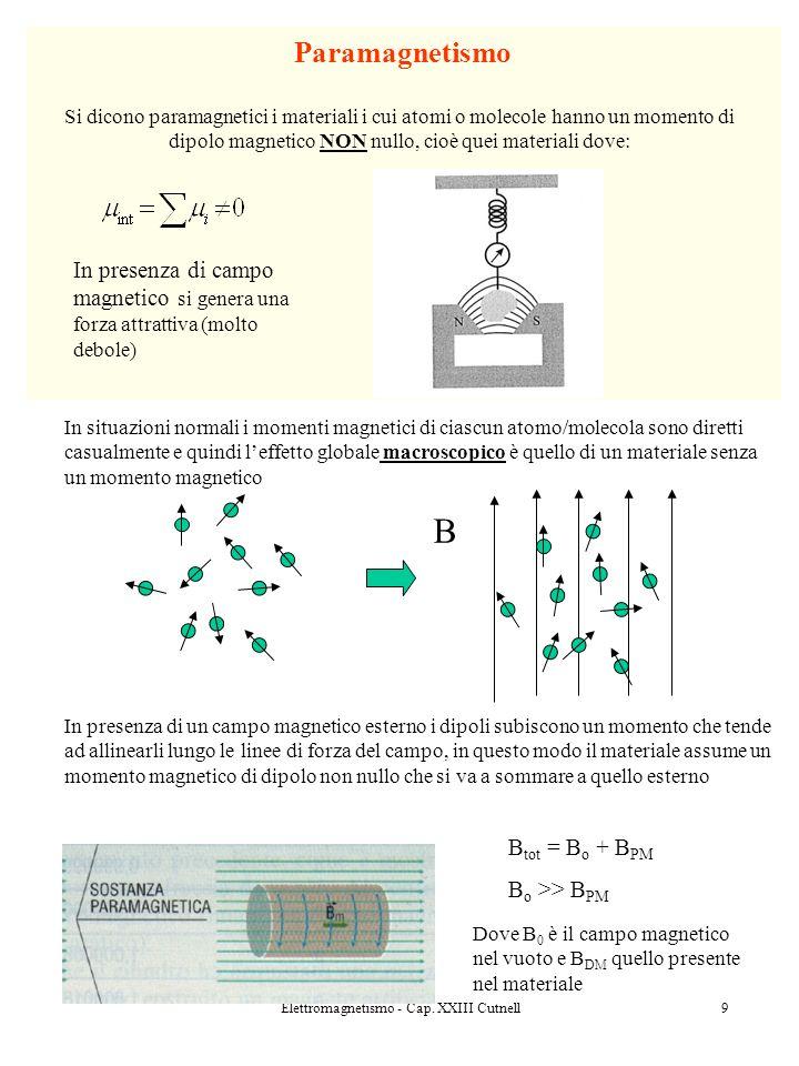 Elettromagnetismo - Cap. XXIII Cutnell9 In situazioni normali i momenti magnetici di ciascun atomo/molecola sono diretti casualmente e quindi leffetto
