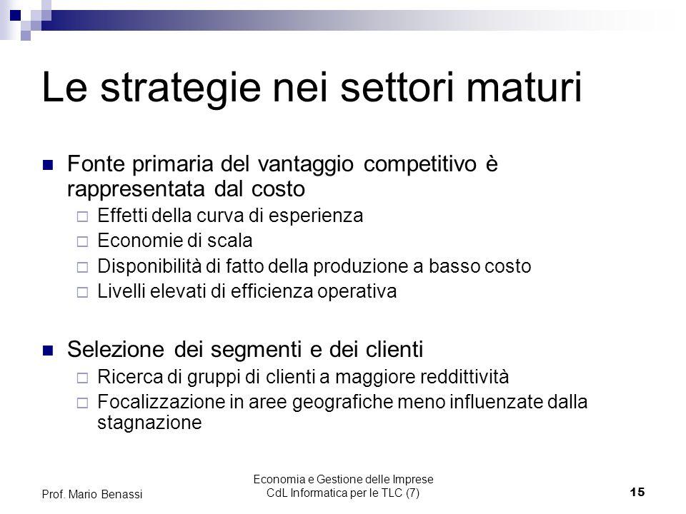 Economia e Gestione delle Imprese CdL Informatica per le TLC (7)15 Prof.