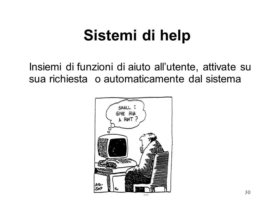 14 lezione 3 Maggio 200430 Sistemi di help Insiemi di funzioni di aiuto allutente, attivate su sua richiesta o automaticamente dal sistema