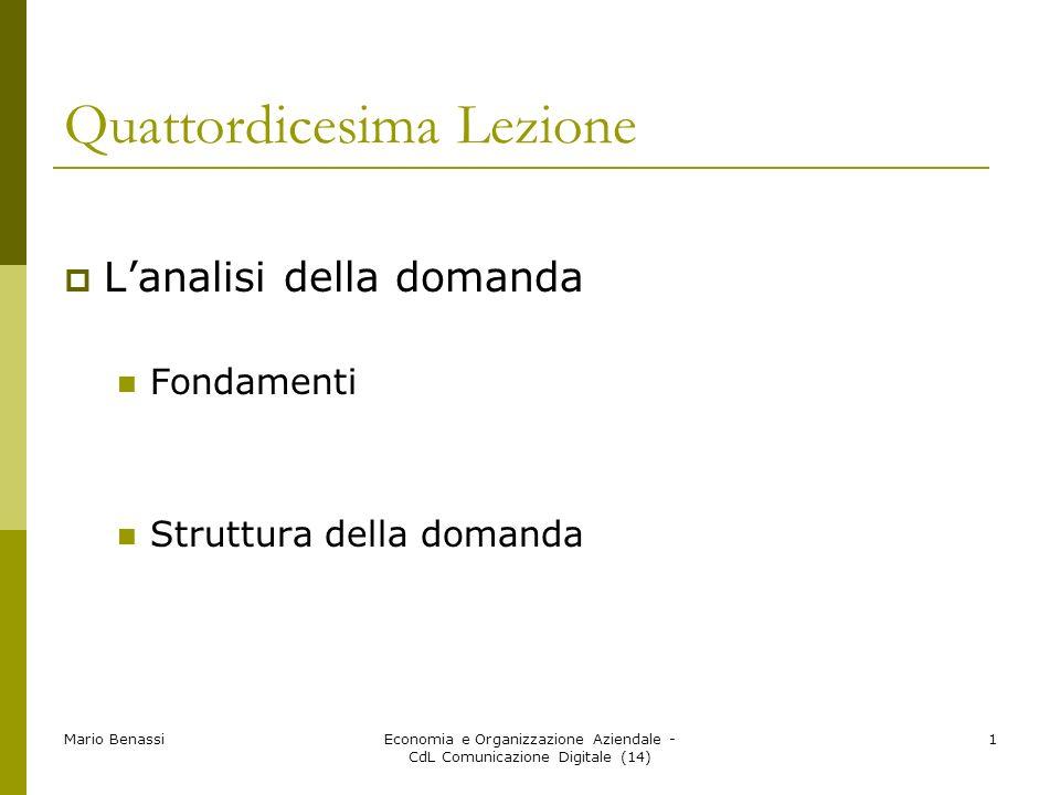 Mario BenassiEconomia e Organizzazione Aziendale - CdL Comunicazione Digitale (14) 1 Quattordicesima Lezione Lanalisi della domanda Fondamenti Struttu