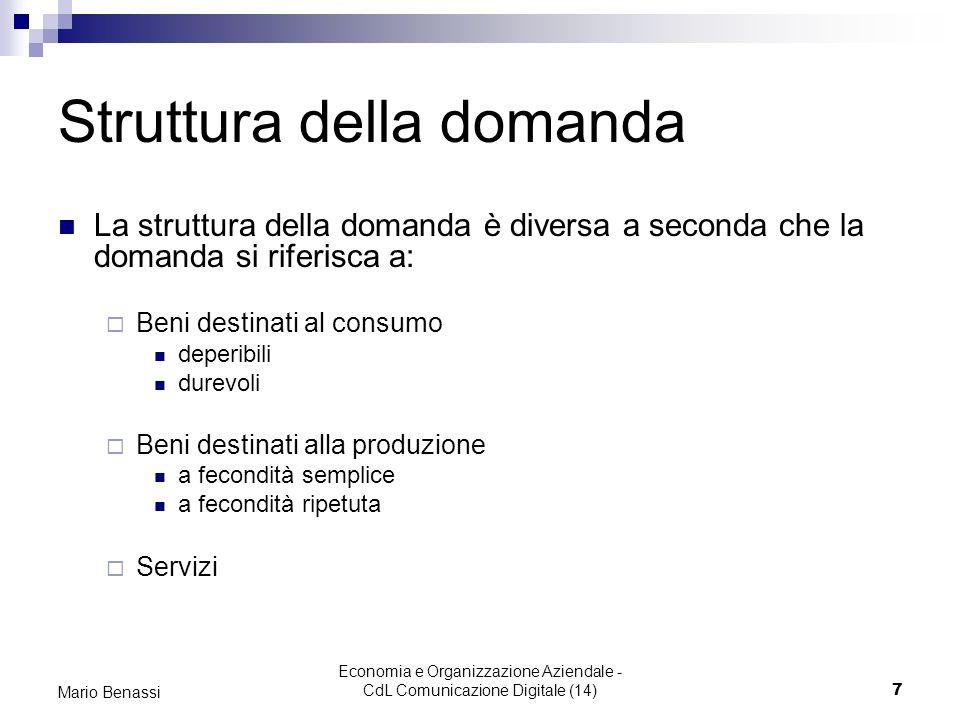 Economia e Organizzazione Aziendale - CdL Comunicazione Digitale (14)7 Mario Benassi Struttura della domanda La struttura della domanda è diversa a se