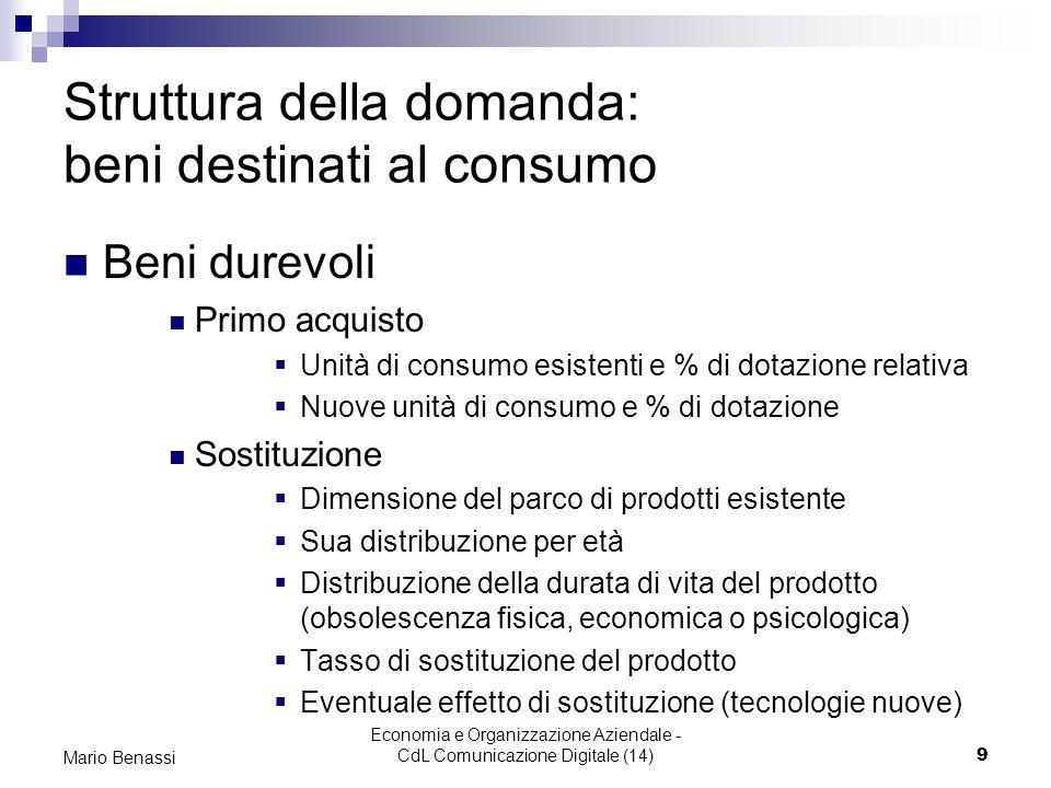 Economia e Organizzazione Aziendale - CdL Comunicazione Digitale (14)10 Mario Benassi Struttura della domanda: servizi I servizi: le caratteristiche Intangibilità Deteriorabilità Inseparabilità Variabilità Servizio industrializzato -comp.