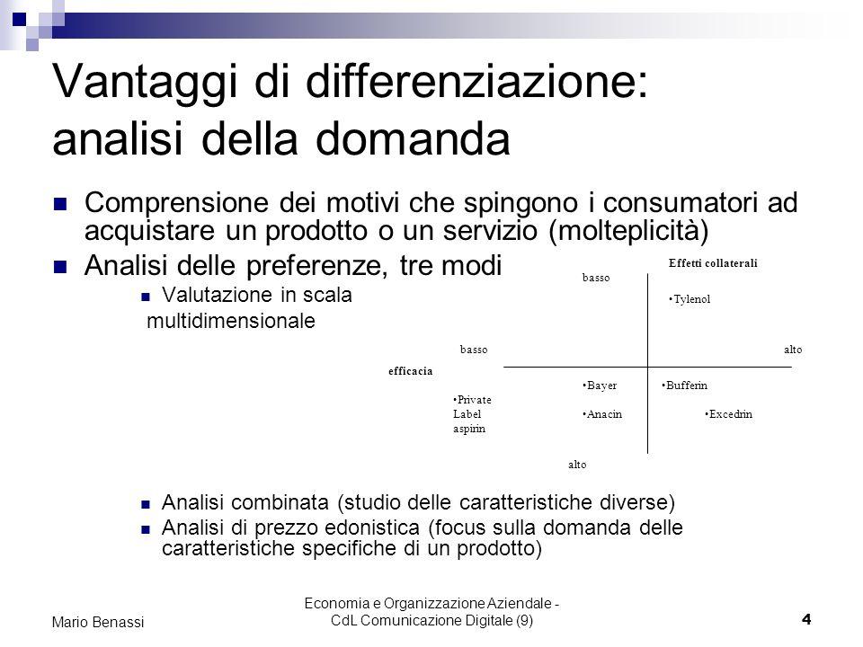 Economia e Organizzazione Aziendale - CdL Comunicazione Digitale (9)5 Mario Benassi Vantaggi di differenziazione: il potenziale FORMULARE STRATEGIA DI DIFFERENZIAZIONE POSIZIONARE IL PRODOTTO IN RELAZIONE ALLE SCELTE EFFETTUATE RISPETTO ALLE CARATTERISTICHE SELEZIONARE IL GRUPPO DEI CLIENTI OBIETTIVO ASSICURARSI CHE LE CARATTERISTICHE DEL PRODOTTO SIANO COMPATIBILI CON LE PREFERENZE DEI CLIENTI VALUTARE IL POTENZIALE DI REDDITTIVITA DELLA DIFFERENZIAZIONE IN RELAZIONE AI COSTI Quali bisogni soddisfa il prodotto.