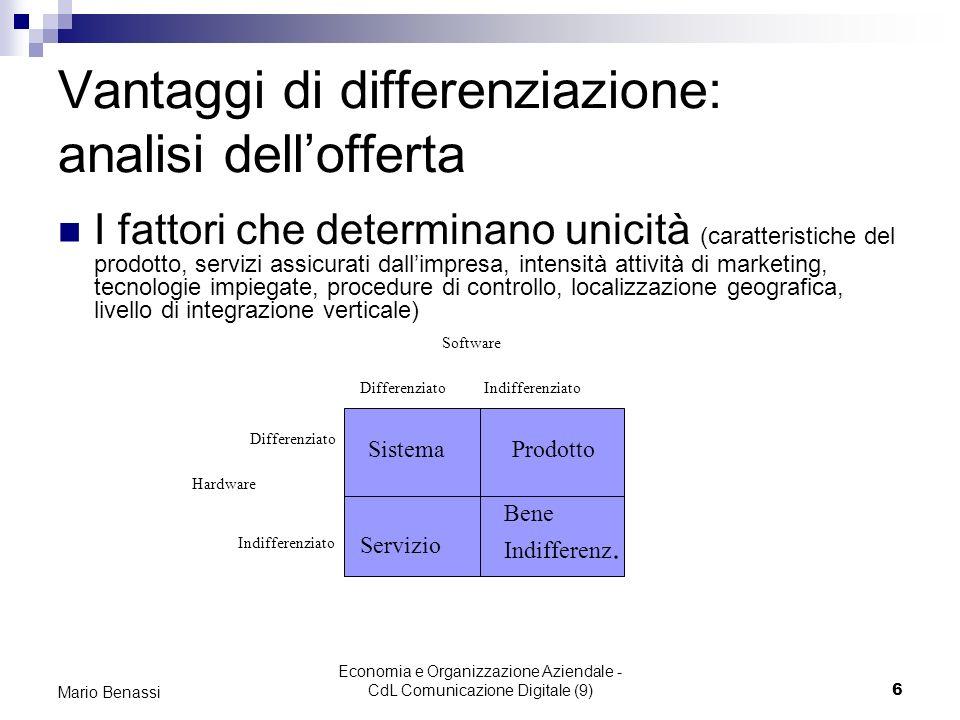 Economia e Organizzazione Aziendale - CdL Comunicazione Digitale (9)6 Mario Benassi Vantaggi di differenziazione: analisi dellofferta I fattori che de