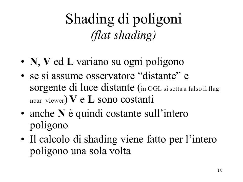 10 Shading di poligoni (flat shading) N, V ed L variano su ogni poligono se si assume osservatore distante e sorgente di luce distante ( in OGL si set