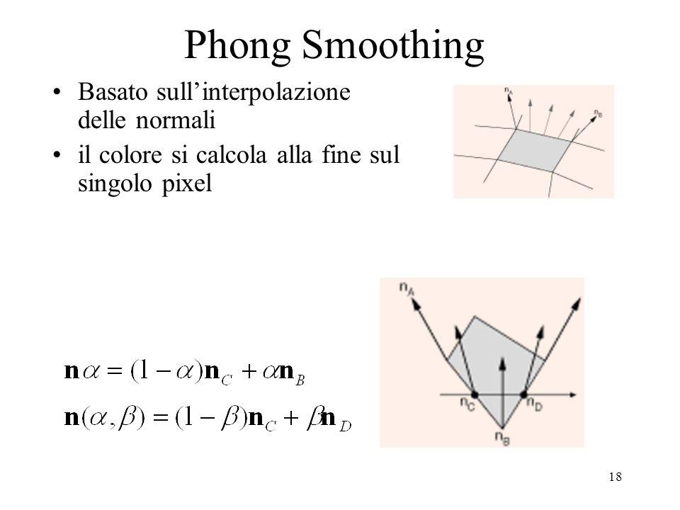 18 Phong Smoothing Basato sullinterpolazione delle normali il colore si calcola alla fine sul singolo pixel