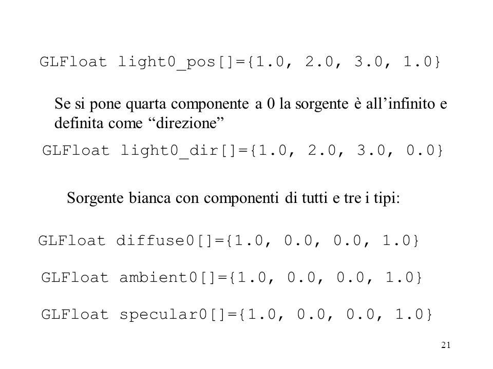 21 GLFloat light0_pos[]={1.0, 2.0, 3.0, 1.0} Se si pone quarta componente a 0 la sorgente è allinfinito e definita come direzione GLFloat light0_dir[]