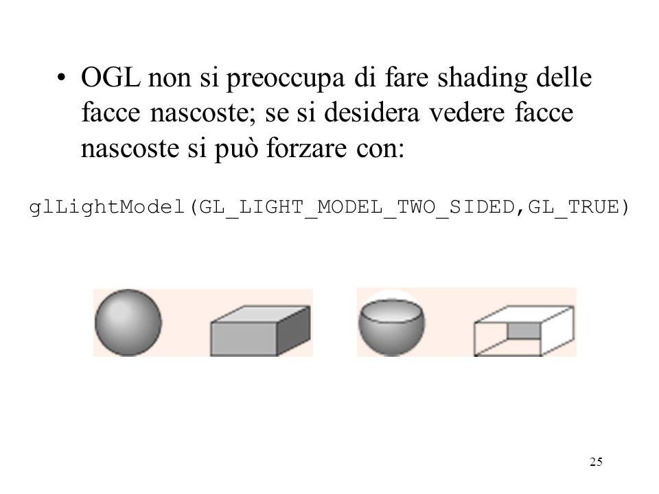 25 OGL non si preoccupa di fare shading delle facce nascoste; se si desidera vedere facce nascoste si può forzare con: glLightModel(GL_LIGHT_MODEL_TWO