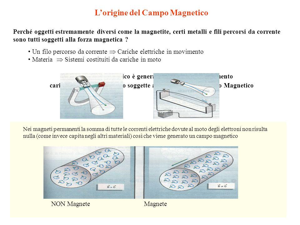 Lorigine del Campo Magnetico Perché oggetti estremamente diversi come la magnetite, certi metalli e fili percorsi da corrente sono tutti soggetti alla
