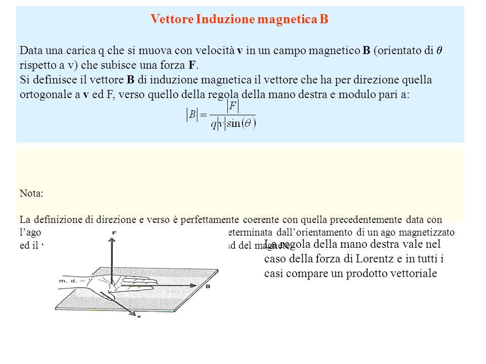 Vettore Induzione magnetica B Data una carica q che si muova con velocità v in un campo magnetico B (orientato di rispetto a v) che subisce una forza