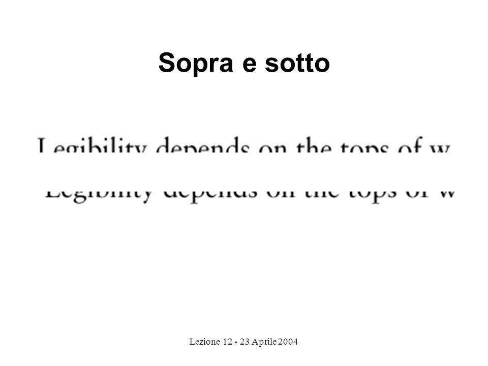 Lezione 12 - 23 Aprile 2004 Sopra e sotto