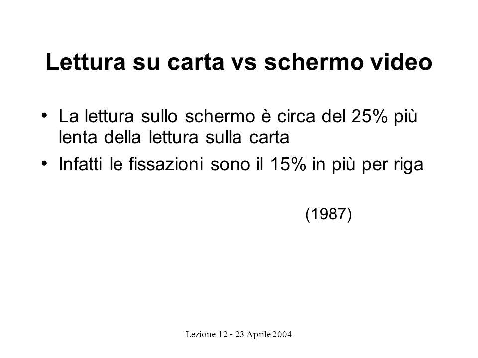 Lettura su carta vs schermo video La lettura sullo schermo è circa del 25% più lenta della lettura sulla carta Infatti le fissazioni sono il 15% in più per riga (1987)