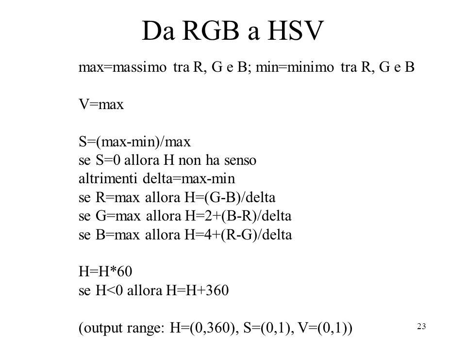 23 Da RGB a HSV max=massimo tra R, G e B; min=minimo tra R, G e B V=max S=(max-min)/max se S=0 allora H non ha senso altrimenti delta=max-min se R=max