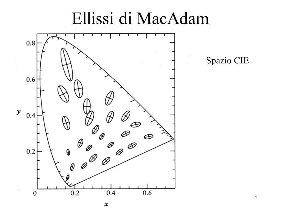 5 Ellissi di MacAdam spazio percettivo lineare