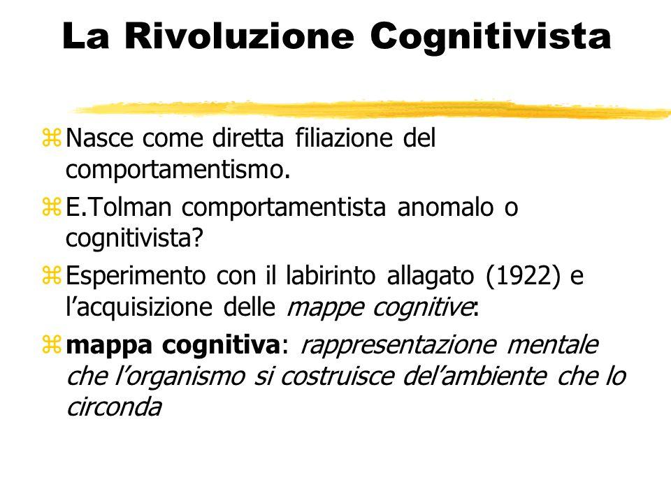 La Rivoluzione Cognitivista zNasce come diretta filiazione del comportamentismo. zE.Tolman comportamentista anomalo o cognitivista? zEsperimento con i