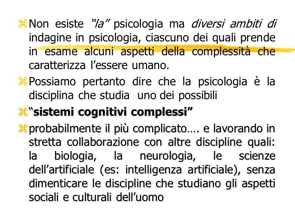 zNon esiste la psicologia ma diversi ambiti di indagine in psicologia, ciascuno dei quali prende in esame alcuni aspetti della complessità che caratte