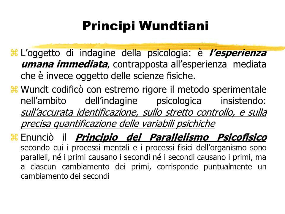 Principi Wundtiani zLoggetto di indagine della psicologia: è lesperienza umana immediata, contrapposta allesperienza mediata che è invece oggetto dell