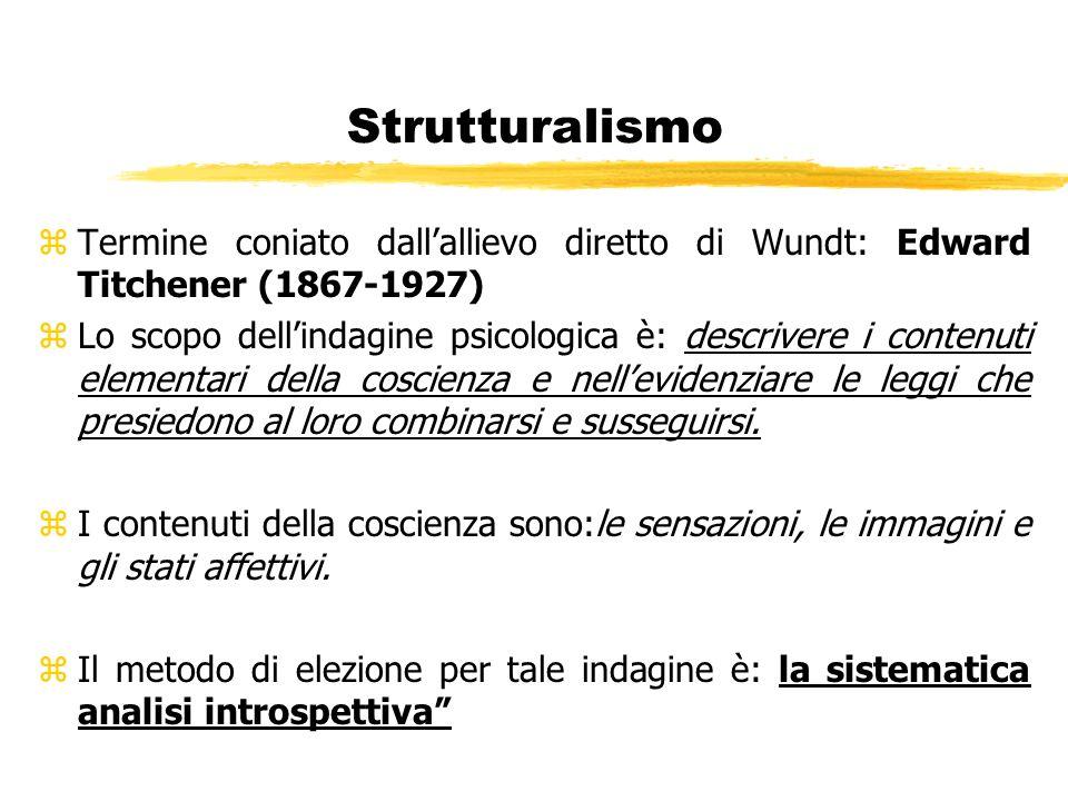 Strutturalismo zTermine coniato dallallievo diretto di Wundt: Edward Titchener (1867-1927) zLo scopo dellindagine psicologica è: descrivere i contenut