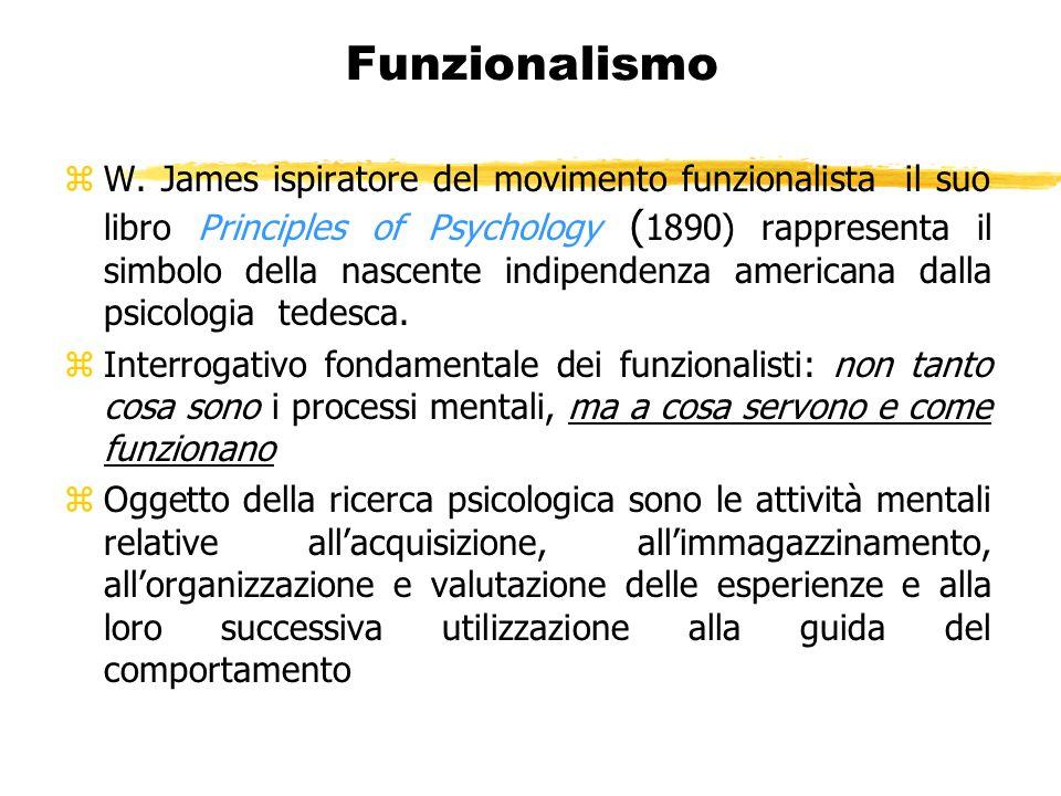Funzionalismo zW. James ispiratore del movimento funzionalista il suo libro Principles of Psychology ( 1890) rappresenta il simbolo della nascente ind